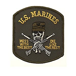 Ecusson / Patch Brode Us Marines Skull Avec Casquette Vert Camouflage Thermo Collant Airsoft Kza-e707/442306734