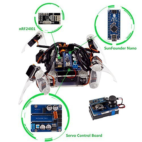 SunFounder Roboterbausatz Programmierbarer Roboter Crawling Quadruped Robot DIY Kit for Arduino with Nano Board Remote Control Nano Remote