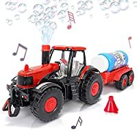 GELRIZTY Bubble Blowing Farm Tractor with Lights and Sound | Main Tractor, Funnel, and Bubble Solution Bottle Included | Battery-Operated Farm Tractor | Best for Ages 3+ (Batteries not Included)