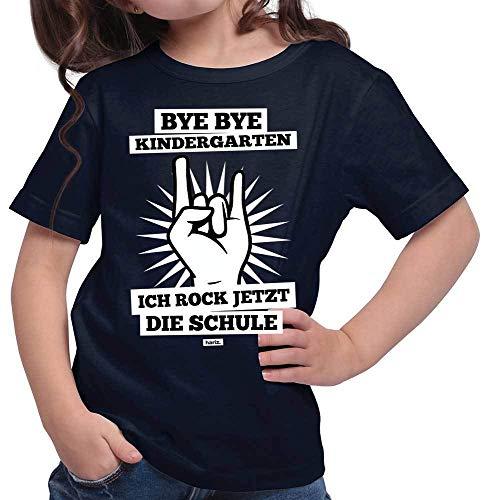 Geschichte Mädchen T-shirt (HARIZ  Mädchen T-Shirt Bye Bye Kindergarten Ich Rock Jetzt Die Schule Schulanfänger Inkl. Geschenk Karte Deep Navy Blau 128/7-8 Jahre)