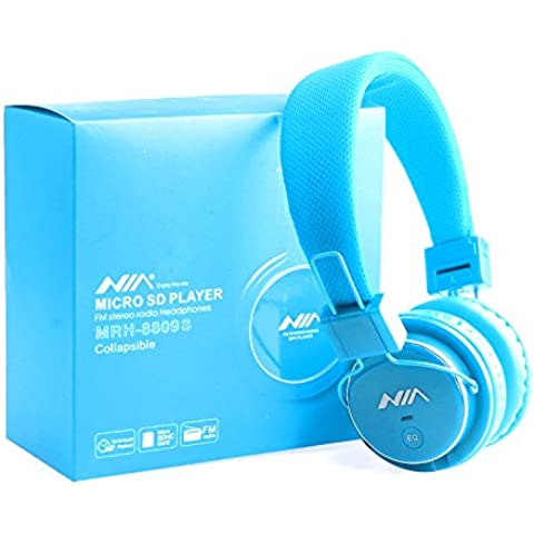 Smart Micro SD TF Card Headset Headphone USB Audio MP3 Music Player FM Radio (Blue) can also be use with Aux cable for Apple iPad4 iPhone 5,Ipod All Mp3 Mp4 Players Sony Creative Samsung, All Laptop Pc And All Devices With A Standard 3.5Mm Jack