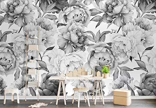 GAOWO Personnalisé Papier Peint 3D(200cmX140cm) Fleur De Pivoine Noire Et Blanche Intissé Trompe L'Oeil Mural Décoration Murale