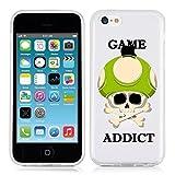 Coque Iphone 5C Game Over Addict Tete de Mort Vert Skull Geek Retro Transparente