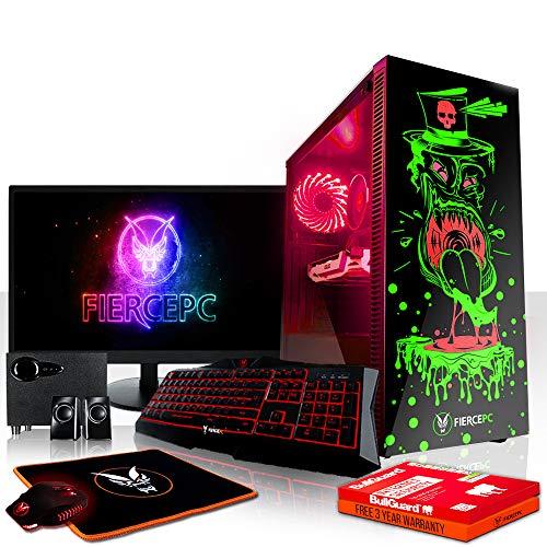Fierce Maniac RGB Gaming PC Bundeln - Schnell 4.0GHz Hex-Core Intel Core i5 8400, 480GB SSD, 16GB 2666MHz, NVIDIA GeForce GT 1030 2GB, Tastatur (QWERTZ), Maus, 24-Zoll-Monitor, Lautsprecher 1069837
