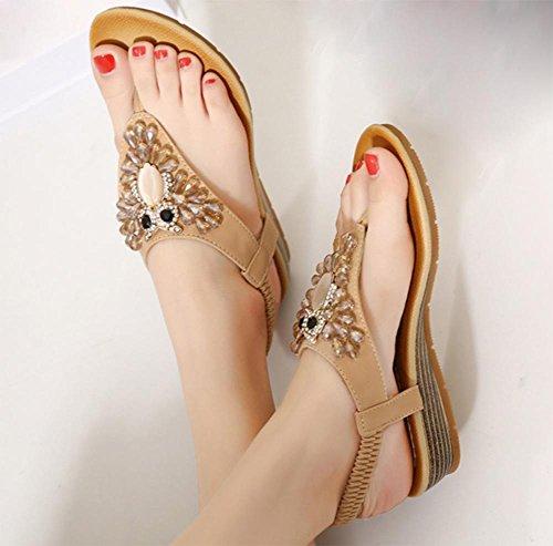 Frauen Sandalen Diamant Hang mit Perlen Sandalen Flip Sandalen und Pantoffeln weiblichen Sommer Sandalen und Pantoffeln apricot