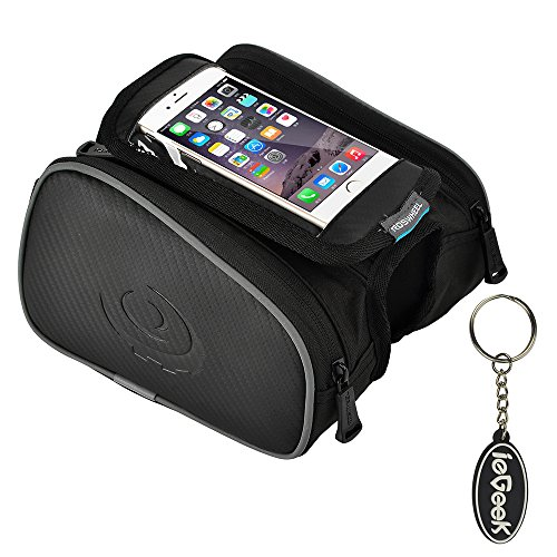 ieGeek Roswheel Bike Bag For Top Tube Frame, With Phone Case/Holder for Cellphone Bellow 4.8 inches, Water Resistance