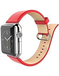 granvela Apple Montre Sangle Baseus 42mm en cuir véritable sangle poignet bande Type de fermoir en métal pour Apple iwatch & Sport & Edition