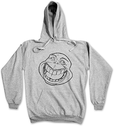 CRAZY LAUGHING MEME HOODIE HOODED PULLOVER SWEATER SWEATSHIRT MAGLIONE FELPE CON CAPPUCCIO – Sizes S – 2XL Ash