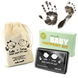Baby Footprint Kit - Easy Clean Baby Safe Black Ink Pad for Baby Hand Prints and Footprints with Lifetime inkpad Guarantee