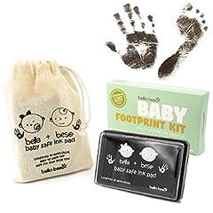 Idea Regalo - Kit per Impronte di Mani e Piedi di Bambini - Tampone a Inchiostro Nero Sicuro per impronte bimbi - facile da lavare via