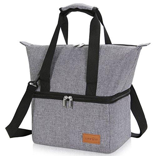 Lifewit borsa termica porta pranzo con due scomparti, borsa frigo isolata, riutilizzabile con tracolla per uomini, donne e bambini