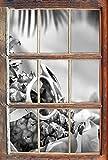 Stil.Zeit Monocrome, Ananas Macht Urlaub Fenster im 3D-Look, Wand- oder Türaufkleber Format: 92x62cm, Wandsticker, Wandtattoo, Wanddekoration