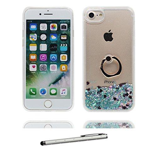 """iPhone 6 Plus Coque, Étui Cover pour iPhone 6S Plus 5.5"""", Bling Glitter Fluide Liquide Sparkles Sables Hard Shell ring Support iPhone 6 Plus Case 5.5"""" Résistant à la poussière et stylet Noir Love # 6"""