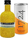 Gin Tonic Bling Bling Mini Probierset - The London No 1 Gin 5cl (47% Vol) Glitzerflasche Gold + 1724 Tonic Water 200ml -[Enthält Sulfite]