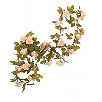 Guirnalda de rosas artificiales, rosas con hojas verdes, 3unidades, 160cm de guirnalda de flores para decoración en bodas en casa.