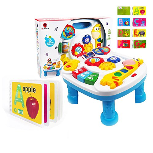ARIZ PRODUCTS LTD MUSICAL LEARNING TABLE For Babies - FREE Alphabet Book, Finest Musical Learning Table With Songs-Numbering-Greetings-Colours amp; Animal Sound Recognition. BEST Entertaining Desk Develops Motor Skill