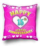Happy 15th Wedding anniversary cushion c...