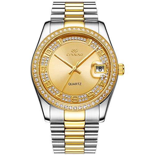 BUREI Luxus Herren Uhren Quarz Armbanduhr japanische Quarzwerk kratzfestes Synthetisches Saphirglas Edelstahl Band (Silber Gold 1)