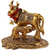 SHIVMART Prosper Kamdhenu Oxidised Gold Finished Brass Like Cow and Calf Figurine Decorative Item (Golden)