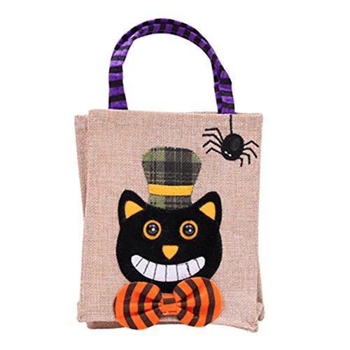 �ßigkeiten Tasche Kinder Tote Geschenke Taschen Handtaschen für Halloween Geschenk Deko Kostüm Party (Schwarze Katze) ()