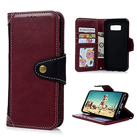 S8 Plus Case, Color Blocking Premium PU Leather Wallet Flip
