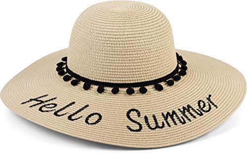 styleBREAKER Damen Strohhut mit \'Hello Summer\' Spruch und Band mit Quasten, Sonnenhut, Schlapphut, Sommerhut, Hut 04025023, Farbe:Hellbraun-Schwarz