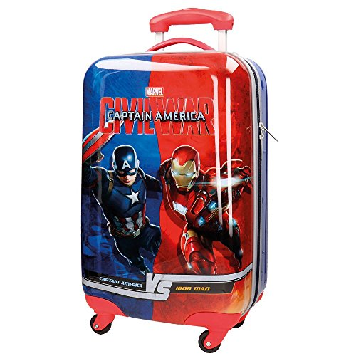 Marvel versus 4721451 trolley da cabina rigido, civil war, 53 litri, abs, blu