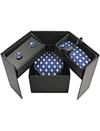 Bradford Tie Blue Flowers Mens Necktie Gift Set With Cufflinks And Hanky Pocket Square (Blue Flowered)