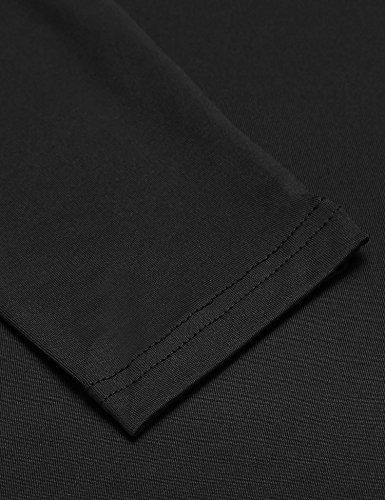 Zeela Damen Strickjacke Cardigan Figurbetont Lang Knielang Offener Langarmshirt Oberteile Tunika mit Seitentaschen Schwarz
