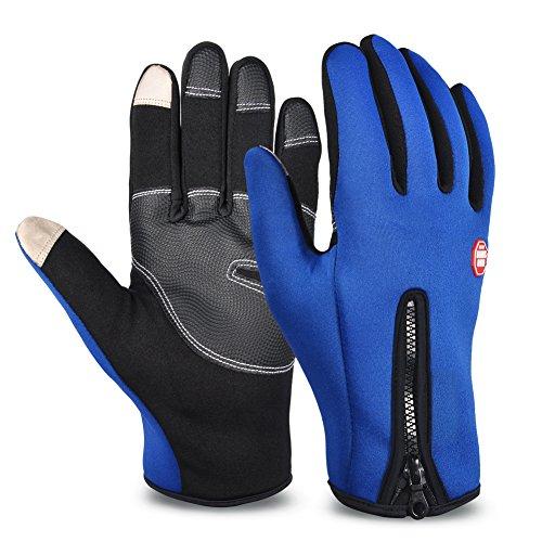 Vbiger TouchscreenHandschuhe Fahrradhandschuhe Winter Handschuhe für Herren und Damen, Blau, M