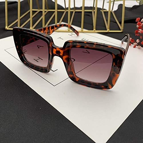 CYCY Europa und die Vereinigten Staaten großen Kasten Vier quadratische Sonnenbrille Frauen großes Gesicht rundes Gesicht quadratische Sonnenbrille weiße Brille Flut XSS schwarz, Leopard Rahmen