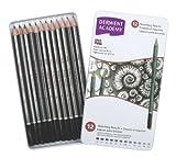 Derwent Academy Graphite Sketching Pencils, Set of 12, Tin Box, 6B-5H Degrees, High Quality, 2301946
