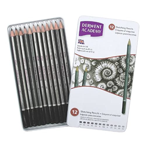 Derwent academy graphite sketching pencils set of 12 tin box 6b 5h degrees high quality 2301946