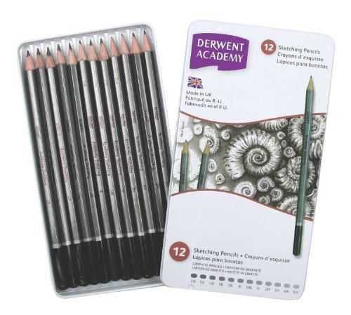 Derwent Academy Sketching Pencils Tin, 6B-5H - Set of 12 Test