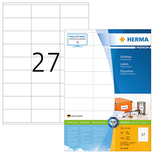 Herma 4450 Universal Etiketten (70 x 32 mm) weiß, 2.700 Aufkleber, 100 Blatt DIN A4 Premium Papier matt, bedruckbar, selbstklebend