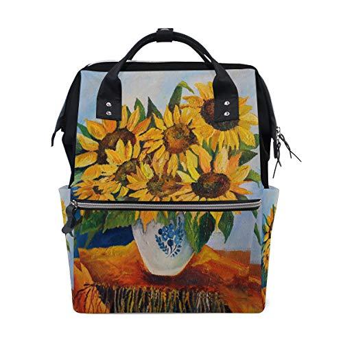 Ölgemälde Goldene Gelbe Sonnenblume Große Kapazität Windel Taschen Mummy Rucksack Multi Funktionen Windel Pflege Tasche Tote Handtasche Für Kinder Babypflege Reise Täglichen Frauen