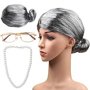 Haichen Old Lady Costume Grandmother Cosplay Accessories Set - Granny Wig Grey Wig Costume Glasses Collar de Perlas Artificiales Accesorios de Disfraces (Gris2)