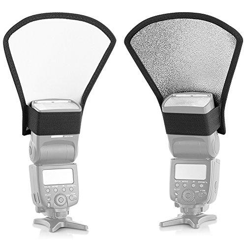 Neewer® Difusor de flash Plata/reflector blanco para Nikon Speedlite SB-600, SB-800, SB-900, Canon Speedlite 380EX 430EX 550EX 580EX, Vivita flash Sony Pentax Olympus Yongnuo Neewer Godox flash