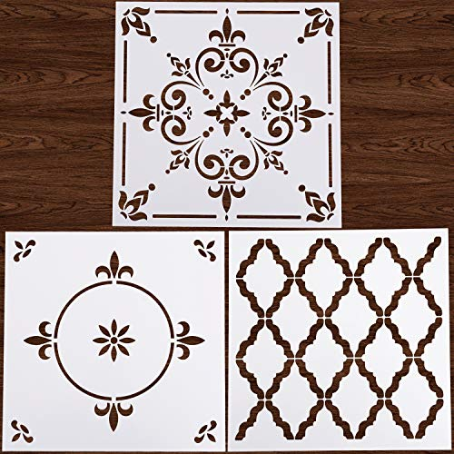 Plantillas reutilizables de LOCOLO, 3 unidades, 30,5 x 30,5 cm, para suelos de azulejos, muebles, madera, pintura, bricolaje, decoración del hogar, dibujo artístico