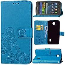 """Guran® Funda de Cuero PU para Huawei Y635 5"""" Smartphone Función de Soporte con Ranura para Tarjetas Flip Case Trébol de la suerte en Relieve Patrón Cover - Azul"""