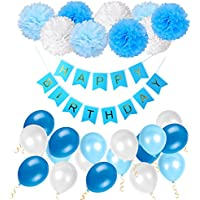 WonderforU Happy Birthday Decorations Bunting Banner with Pearl Balloons Pom poms Tissue Flowers Garland