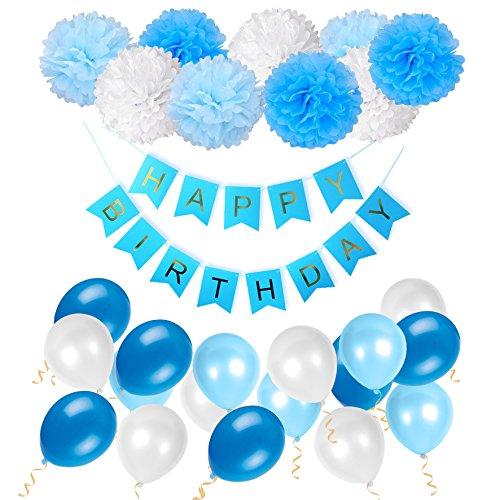 Geburtstag Dekoration Set Happy Birthday, Junge und Mädchen Geburtstagsparty Girlande Luftballons Pom Poms Papierblume Rosa -- Von WonderforU (Happy Birthday Karten Für Mädchen)