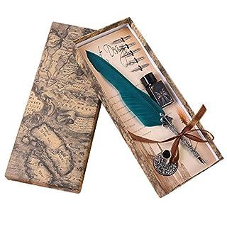 Purebesi Büro Retro Gefieder Handgemacht Kalligraphie Holder und Hand geschnitzten Dip Stem Pen Set mit Tinte,5 Stück Ersatz-Nibs