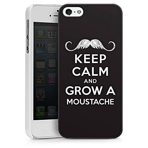 Apple iPhone X Silikon Hülle Case Schutzhülle Keep calm and grow a moustache Sprüche Statement Hard Case weiß