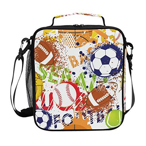 Kleine Jungen Rugby (Lunchtasche mit buntem Baseball-Fußball/Rugby-Lunchtasche, isoliert, mit Schultergurt, für Damen, Herren, Kid, Jungen, Mädchen, große Tragetasche für Picknick, Schule)