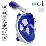 Gosccess Schnorchelmaske Tauchmaske, Vollmaske Schnorchelmaske mit 180 Grad Sichtfeld Anti-Fog und Anti-Leck Vollgesichtsmaske für Erwachsene und Kinder(Blau