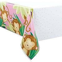 Mantel de plástico infantil con dibujo de un mono, 2,13m x 1,37m