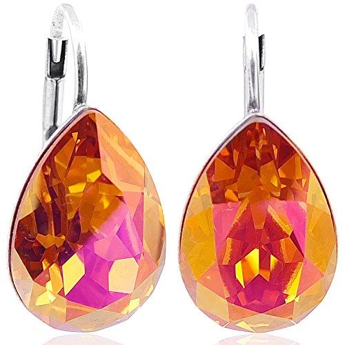 050f452e22c9 Ohrringe mit Kristallen von Swarovski® Silber Orange Pink NOBEL SCHMUCK
