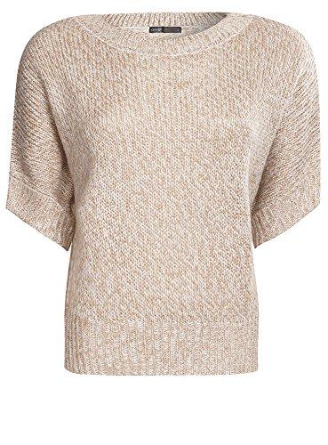 oodji Ultra Damen Melange-Pullover mit Fledermausärmeln Beige (3520M)