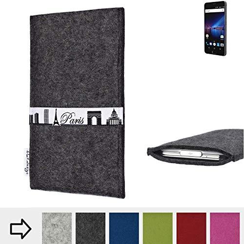 flat.design für Phicomm Passion 4 Schutzhülle Handy Case Skyline mit Webband Paris - Maßanfertigung der Schutztasche Handy Hülle aus 100% Wollfilz (anthrazit) für Phicomm Passion 4